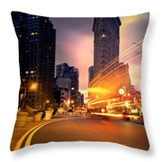 The Flat Iron Building With Some Magic Happening Throw Pillow