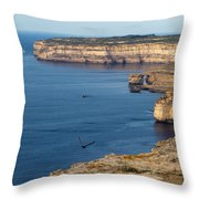 The Flight Over Dwejra  Throw Pillow