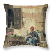 The Flower Seller Throw Pillow