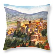 The Fortified Walled Village Of Gualdo Cattaneo Umbria Italy Throw Pillow