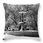 The Fountain And The Ride In Black And White Throw Pillow