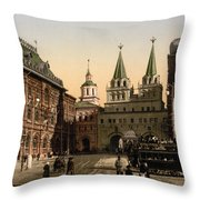 The Gate Of Notre Dame D Iberia Moscow Throw Pillow