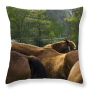 The Gathering At Ryerss Farm Throw Pillow