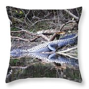 The Gator That Lives Under The Bridge Throw Pillow