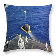 The Gemini-3 Spacecraft Is Hoisted Throw Pillow
