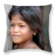 The Girl In The Plastic Earrings  Throw Pillow
