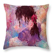 The Girl Of Many Colors Throw Pillow
