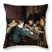 The Glass Blowers Throw Pillow by Charles Frederic Ulrich