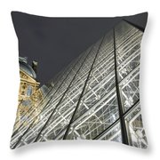 The Glass Pyramid And The Louvre At Dusk Throw Pillow