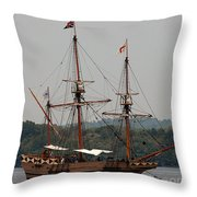 The God Speed Tall Ship Throw Pillow