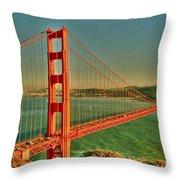 The Golden Gate Bridge Summer Throw Pillow by Alberta Brown Buller