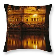 The Golden Temple Is Reflected Throw Pillow
