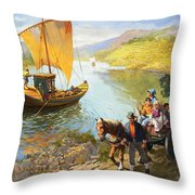 The Grape-pickers Of Portugal Throw Pillow by van der Syde
