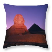 The Great Sphinx Is Illuminated Throw Pillow