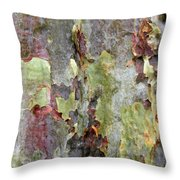 The Green Bark Of A Tree Throw Pillow
