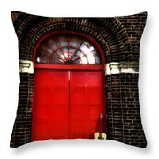 The Guitar And The Red Door Throw Pillow