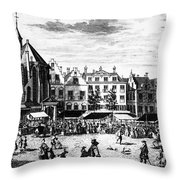 The Hague: Market, 1727 Throw Pillow