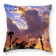 The Heavens Tell Throw Pillow