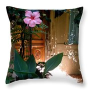 The Hibiscus Greeter Throw Pillow