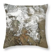 The High Peaks Of The Rocky Mountains Throw Pillow