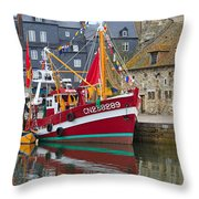 The Historic Fishing Village Of Honfleur Throw Pillow