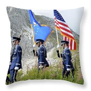 The Honor Guard Posts The Colors Throw Pillow