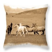 The Horse Herd Throw Pillow