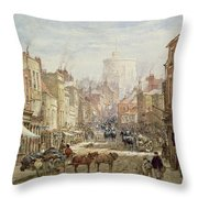 The Household Cavalry In Peascod Street Windsor Throw Pillow by Louise J Rayner