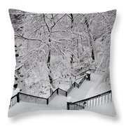 The Hundred Steps In The Snow Throw Pillow