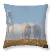 The Hunter Of Buffalo Throw Pillow