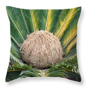The Inside Of A Fern With The Large Flower In The Middle Throw Pillow