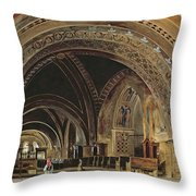The Interior Of The Lower Basilica Of St. Francis Of Assisi Throw Pillow by Thomas Hartley Cromek