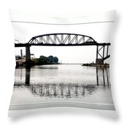 The International Peace Bridge Between The United States  And Canada Throw Pillow