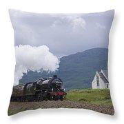 The Jacobite Express At Lochailort Church Throw Pillow