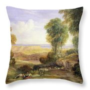 The Junction Of The Severn And The Wye With Chepstow In The Distance Throw Pillow