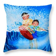 The Kayak Racer 10 Throw Pillow