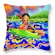 The Kayak Racer 12 Throw Pillow
