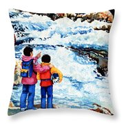 The Kayak Racer 14 Throw Pillow by Hanne Lore Koehler