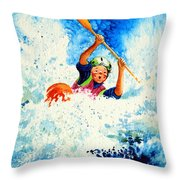 The Kayak Racer 16 Throw Pillow by Hanne Lore Koehler