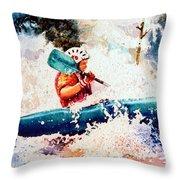 The Kayak Racer 18 Throw Pillow