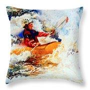 The Kayak Racer 19 Throw Pillow