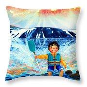 The Kayak Racer 5 Throw Pillow