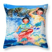 The Kayak Racer 7 Throw Pillow