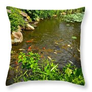 The Koi Are Feeding Throw Pillow