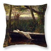 The Lady Of Shalott Throw Pillow by Walter Crane