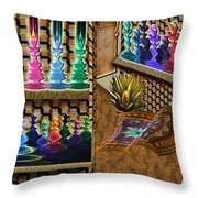 The Lamp And Bottle Bazaar Throw Pillow