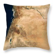 The Lands Of Israel Along The Eastern Throw Pillow by Stocktrek Images