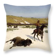The Last Of The Herd Throw Pillow by Henry Francois Farny