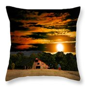 The Late Sam's Rd. Barn In The Moonlight Throw Pillow
