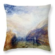 The Lauerzersee With The Mythens Throw Pillow